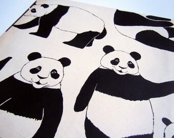 Vintage 1980's Panda Bear Kawaii Any Occasion Wrapping Paper   Black and White Gift Wrap Paper   Animal Wrapping Paper