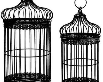 two bird cages silhouette clipart png clipart jpg Digital graphics Image Download digital stamp digi stamp bird cage line art printables