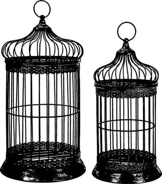 two bird cages silhouette clipart png clipart jpg Digital graphics Image Download digital stamp digi stamp bird cage line art printables