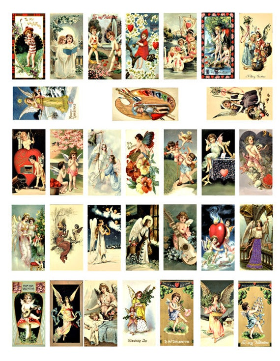 vintage angel cupid domino collage sheet digital download 1 x 2 inch image graphics postcards paintings craft scrapbooking paper printables