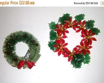 Blow Out Sale Vintage Bottle Brush Wreath and Plastic Candle Ring - Christmas Wreath - Christmas Candle Ring - Christmas Decor - Holiday Hom