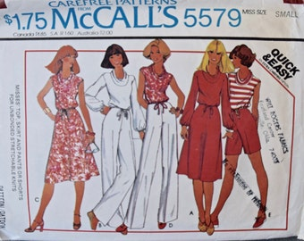 1970's McCall's 5579 Vintage Sewing Pattern Cowl Collar Top with Drawstring Casing Pull-On Bias Skirt and Pants Size Small