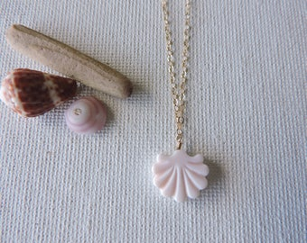 Pink carved shell necklace - gold filled chain and shell necklace - simple, summer, beach jewelry