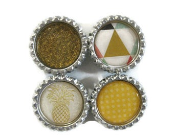 Modern Pineapple Themed Bottle Cap Magnets Set of 4