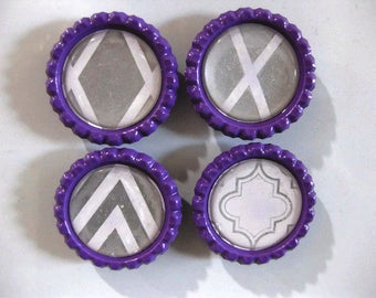 Silver and White on Purple Modern Designs Themed Bottle Cap Magnets Set of 4