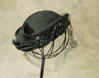 vintage 50s Birdcage Veil Hat - 1950s Black Wool Bumper Hat