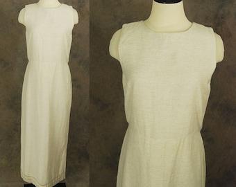 vintage 90s Linen Dress - 1990s Minimalist Natural Linen Dress Maxi Dress Sz M