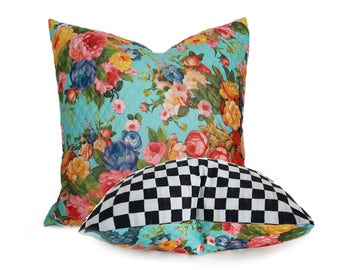 Whimsical Floral Pillow Cover, Eclectic Throw Pillows, Colorful French Country Pillows, Black White Check Pillow,  12x18, 18x18 NEW