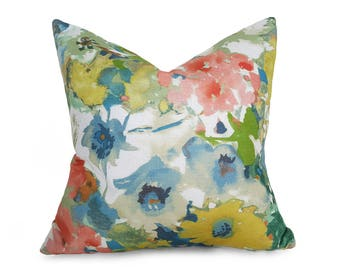 Watercolor Floral Pillow, Colorful Spring Pillows, Blue Green Coral Pillow Covers, Modern Decorative Couch Cushions, 12x18, 18x18, 20x20 NEW