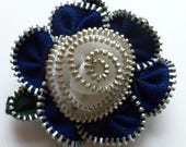 Navy Blue and White Floral Brooch / Zipper Pin by ZipPinning 3046