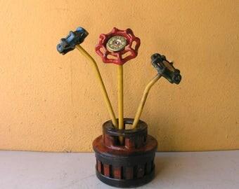 mini vase industrial salvage scrap metal table vase minimal desk pencil holder office decor coworker gift 4 him upcycled tool flower pot