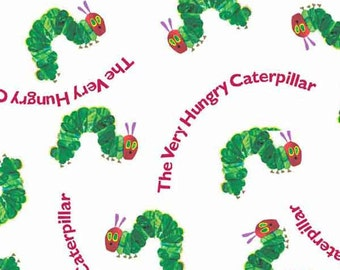 The Very Hungry Caterpillar with Red Writing Cotton Fabric by Andover Fabrics for Makower, Kid's Eric Carle Small Hungry Caterpillar Fabric