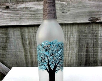 Wine Bottle Vase, Hand Painted Glass Bottle, Tree with Teal Leaves. Glass Vase