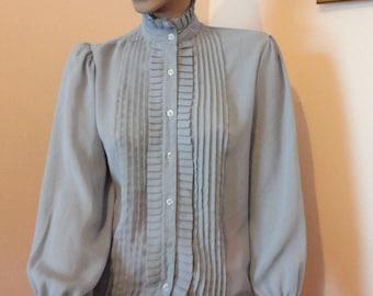 Vintage !980's High-Collar Grey Ruffled Blouse Sz 14