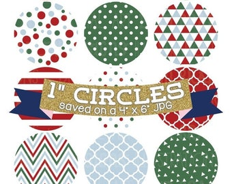 """50% OFF SALE Christmas Digital Collage Sheet Red Green Blue Holiday Digital Bottle Cap Images 1"""" Circles"""