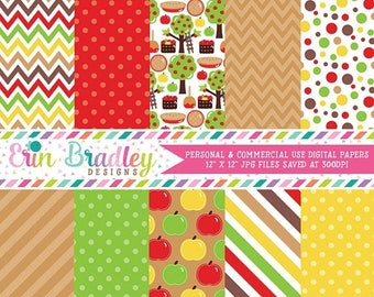 50% OFF SALE Apple Picking Fall Digital Paper Pack Polka Dots Stripes Chevron and Apple Patterns in Red Green Brown & Yellow