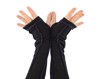 Arm Warmers in Black Dragon - Purple Stitching - Upcycled Felted Wool - Long Fingerless Gloves