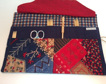 Blue Red Homespun Crazy Quilt Oressa Double Point Knitting Needle Case