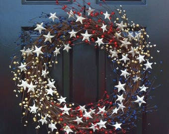 SUMMER WREATH SALE Memorial Day Wreath, Fourth of July Wreath, Americana Wreath, Patriotic Door Wreath, Country Wreath, Rustic Wreath Stars