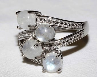 Genuine Sri Lankan rainbow moonstone ring set in sterling silver with platinum overlay size 8.5 shipping included U.S.A and Canada