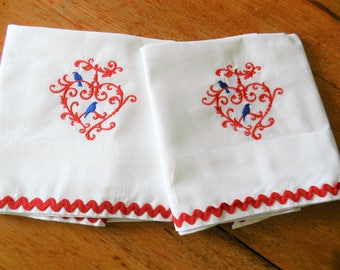 NOS Red Pillowcases, Red Heart Pillowcases, Hearts Pillowcases, Bluebird Pillowcases, Never Used Pillowcases, Valentines Day