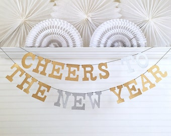 Glitter New Years Eve Decorations - 5 inch Letters - Cheers To New Year Happy New Year Banner Happy New Year Decor Gold New Years Eve Party