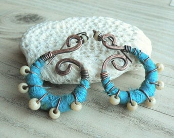 Silk Wrapped Spiral Earrings, Medium, Blue and Cream, Bohemian Hoops, Dark Copper Dangles, with Sterling Ear Wires