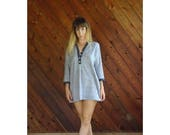extra 30% off sale . . . Woven Beachy 3/4 Sleeve Mini Dress - Vintage 90s - MEDIUM Petite