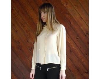 25% off Flash Sale . . . Vanilla Silk Peter Pan Collar Blouse - Vintage 80s - XS