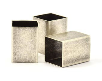Geometric Spacer Beads, 3 Huge Antique Silver Plated Brass Square Tubes (18x25mm) Bs 1527