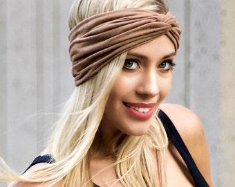 Vegan Suede Headband Women's Soft Headband Boho Chic Fall Fashion Head Wrap Hair Scarf Tan Beige Fake Suede Fake Leather Hair Accessory