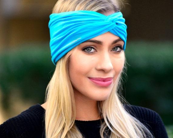 Women's Headband Beach Turban Bohemian Style Summer Fashion Soft Headband Bandeau Mini Hat Aqua Blue Green Stretchy Headband Turban Twist