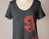 HOLIDAY SALE womens shirt, poppy shirt, red poppies, gray shirt, floral poppy screenprint