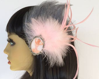 Pink Feather Fascinator, Gray Feather Fascinator, Pink Marabou Feathers, Pin Up Hair Clip, Great Gatsby Fascinator