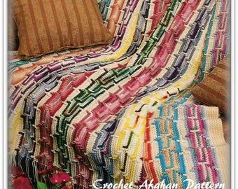 Crochet Afghan Pattern - Southwest Flair - Great For Scrap Yarn - PDF CR316512
