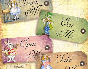 Alice Vintage Tags, Hand Drawn Alice in Wonderland decorations and printables, labels, perfect for parties, presents and invitations.