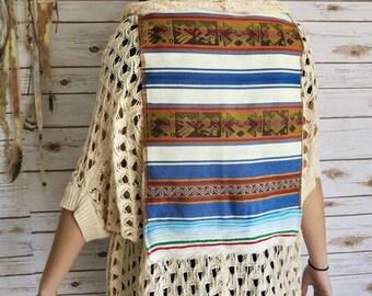 Boho Traveler Bohemian Hippie Gypsy Ethnic Fringe Woven Crochet Sweater Kimono Cardigan Jacket One Size