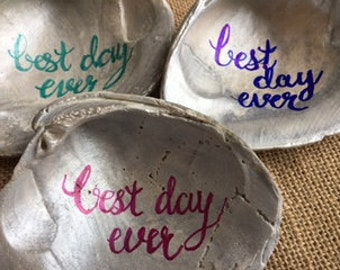 bridesmaid ring dish shell jewelry dish hostess best day ever Outer Banks wedding Beach wedding anniversary BeachHouseDreamHome memento OBX