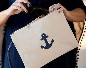 monogrammed anchor bag personalized makeup bag bridesmaids gift cosmetic bags Ipad cover Beach wedding BeachHouseDreamsHome Outer Banks OBX