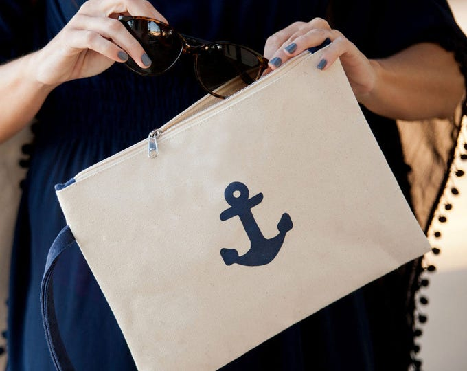 anchor bag i pad cover nautical wedding makeup bag bridesmaids gift cosmetic bags Beach wedding BeachHouseDreamsHome Outer Banks OBX