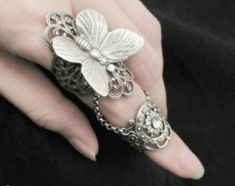 Fairy's Touch - Silver Butterfly Armor Ring, Armour Ring, Finger Armor, Butterfly Jewelry, Fantasy Jewelry, Butterfly Ring, Slave Ring