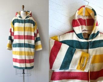Woolrich blanket coat | 1980s wool duffel coat | hudson bay wool coat