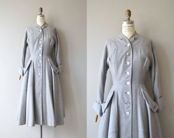 Landmark wool coat | vintage 1950s coat | grey 50s princess coat