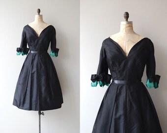 Frank Starr party dress | vintage 1950s dress | black 50s dress