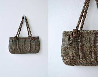 Bronze Age handbag | vintage 1930s beaded purse | bronze beaded 30s handbag