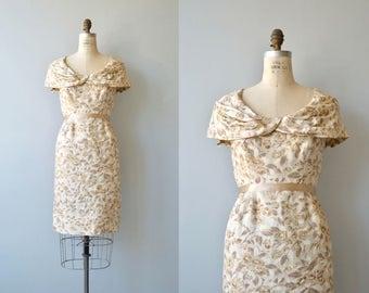 Feuille de Café dress | vintage 1950s silk dress | floral silk 50s dress