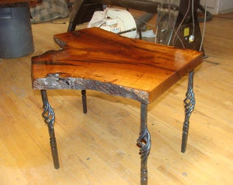 Mesquite Table with Forged Iron legs