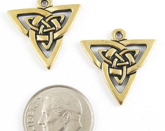 TierraCast Pewter Charms-Gold CELTIC TRIANGLE KNOT (2)