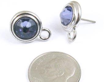 December Swarovski Crystal Birthstone Earring Posts-TANZANITE & SILVER-1 Pair