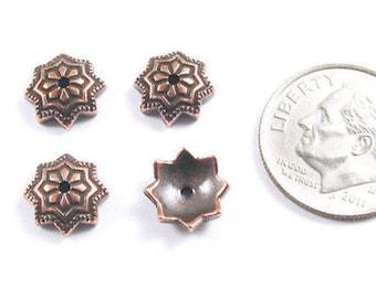 TierraCast Pewter Bead Caps-Copper Talavera Star 8mm (4)